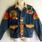 Funky denim and leather jacket by Coda PIECE CORPS  faux military size medium M