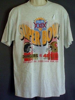 NEW Super Bowl XXIX 1995 tee shirt Chargers - 49ers Miami Florida Joe Robie Stadium XL vintage NOS
