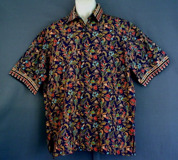 Oriental floral sport shirt NEW. Cotton 17/17.5 collar  Extra large XL