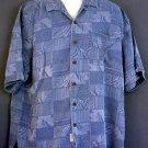 Washable silk Hawaiian sports shirt. Jamaica Jaxx. Blue bird of paradise flowers woven in Large L