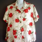 Plus size woman shirt top peony floral rayon La Cabana 2X