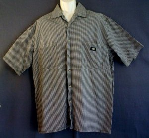 Dickies short sleeve sport shirt XL small checks cotton NEW