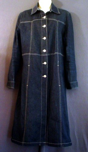 Denim dress NEW full length button front Medium M