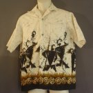 Hand made hemp and cotton sports shirt Polynesian warriors Large