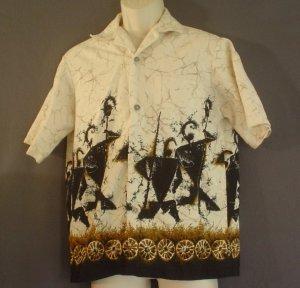 Hand made hemp and cotton sports shirt Polynesian warriors Large