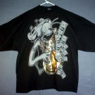 Blinged out Pink Panther blowing money from a sax.Tee shirt made in USA 4XL -  5XL