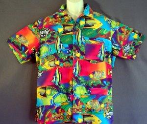 Tropical fish Hawaiian sports shirt Cotton Size large