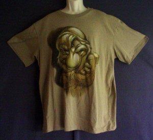 Grumpy tee shirt Disney Store Brown cotton XL