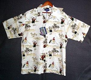 NEW Hawaiiian sports shirt santas golfing holiday cotton rayon XL