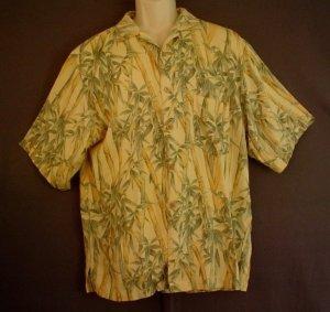 Washable silk Jamaica Jaxx Hawaiian sports shirt. Bamboo print. Size XXL