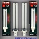 (2) Philips PL-S 9w27 CFL Compact Fluorescent Light Bulbs~Lamps~2 Pin~NIB