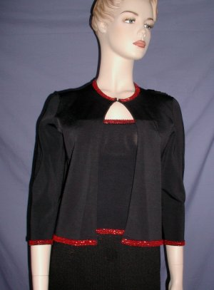 NICOLE MILLER Collection Black Beads Top Jacket Small/Medium