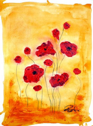 """PIZZUTI Original Signed Painting """"Eleven Red Poppies"""""""