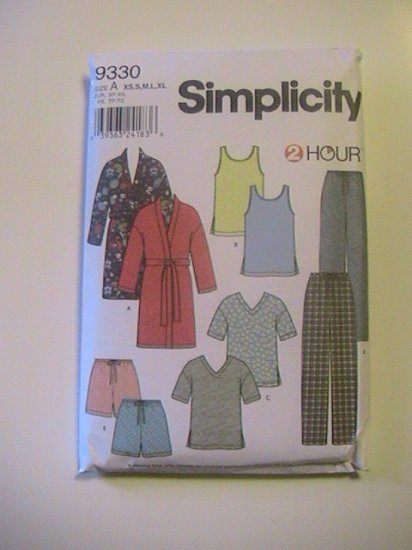 Simplicity Pattern 9330 2 hour Misses, Mens,Teens Sleepwear