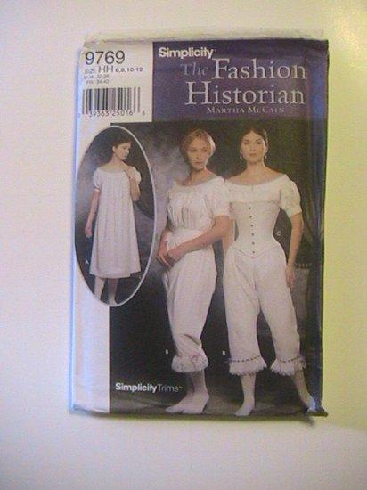 Simplicity Fashion Historian Pattern, 9769, size 6 to 12, Misses Authentic Civil War Undergarments