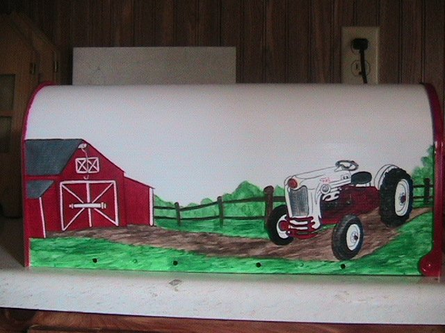 Handpainted Mailbox, white, red, 1953 Ford Golden Jubilee Tractor, barn,fence