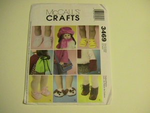 McCalls Crafts Accessories Sewing Pattern  #3469 for 18 inch Doll