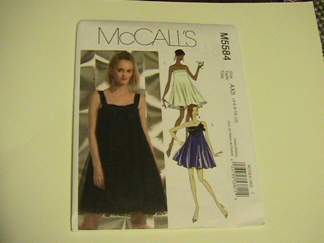 McCalls Sewing Pattern,  #M5584, size AX5,6,8,10,12, Misses Dresses