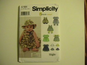 Simplicity 6 made Easy Pattern #9784,Baby Girl Dress and Hats,size A,7 pounds to 21 pounds