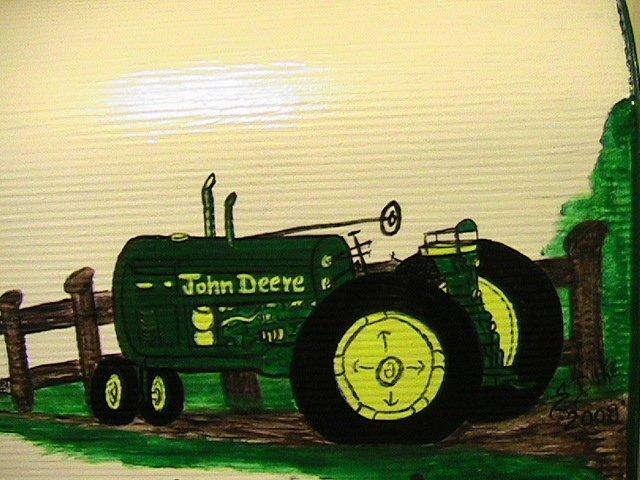 Handpainted Mailbox John Deere Tractor, Red Barn, Fence