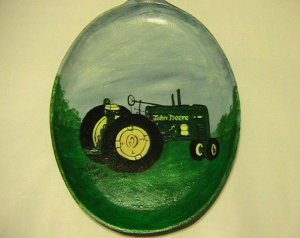 John Deere Tractor on a Handpainted Cast Iron Skillet