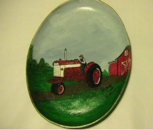 International Tractor with Farmer on a Handpainted Cast Iron Skillet
