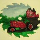 Handpainted Farmall H Tractor on a 7 inch circular Sawblade