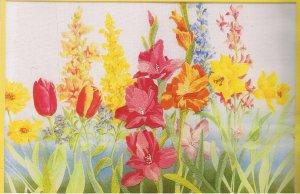 RARE Spring Garden Tulip Iris Crewel Emroidery Kit