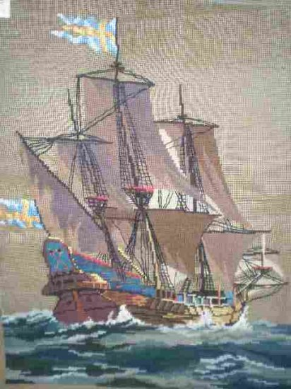 Paragon Preworked Ship Sailing Away Needlepoint Canvas