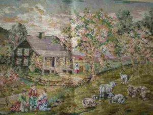 Trammed/Tramme Pastoral Scene The Shepherd's Cottage Canvas + Yarn