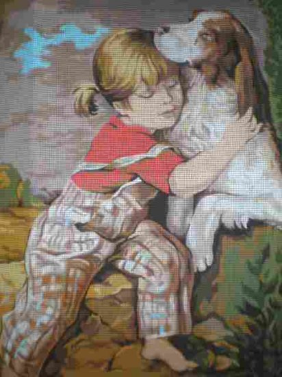 Royal Paris' Amities Enfantines - Little Girl with her Dog Needlepoint/Tapestry/Cross Stitch Kit