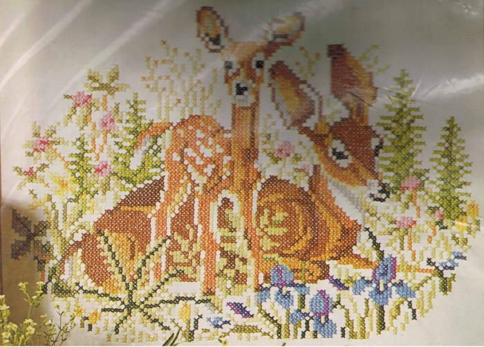 """Columbia-Minerva Cross Stitch Embroidery """"Two Deer"""" Kit"""