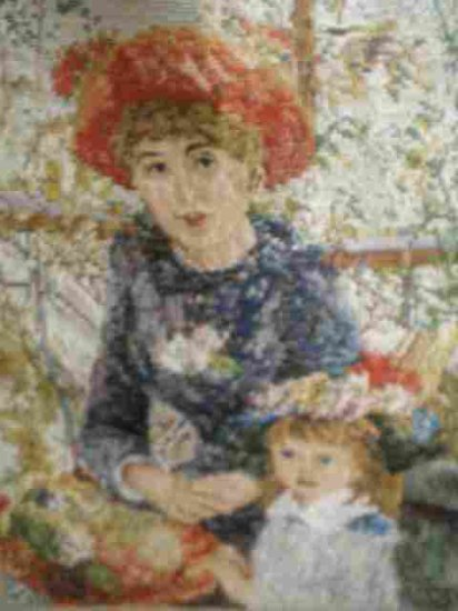 "Trammed Kit repro of Renoir's ""En La Terrasse"" On the Terrace Mother and Child"