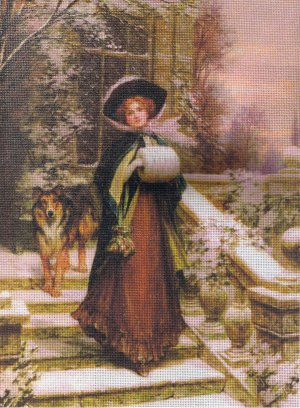 UNIQUE!! Victorian Winter Stroll with a Dog Needlepoint/Tapestry Kit