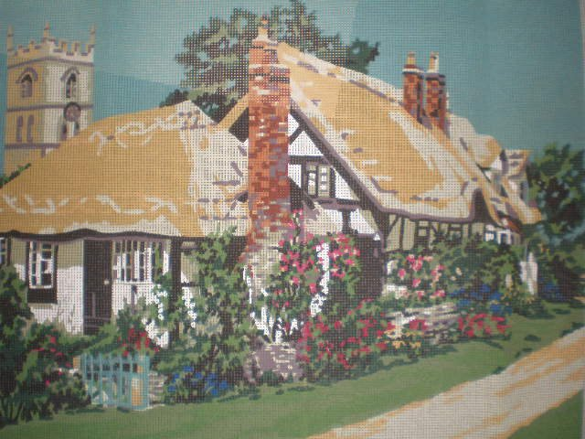 """Penelope """"Country Lane"""" Cottage with Church Steeple in the Background Needlepoint Starter Kit"""