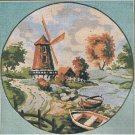 "Twilley's of Stamford Needlecraft ""Autumn"" Fall Scene: Mill, boat and river Needlepoint/Tapestry Kit"