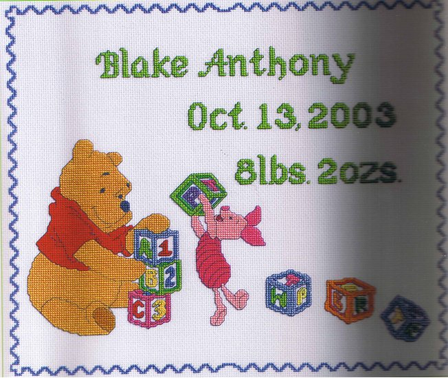 Janlynn Disney Pooh's Block Party Birth Announcement Counted Cross Stitch