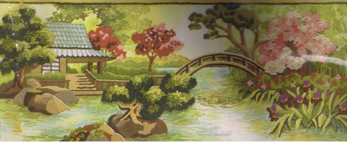 Sunset Oriental Tea Garden Crewel Stitchery Kit
