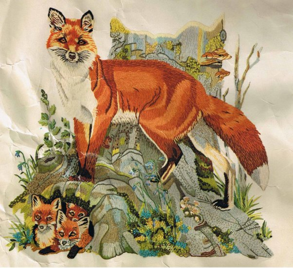 Columbia Minerva Foxes Picture Crewel Kit
