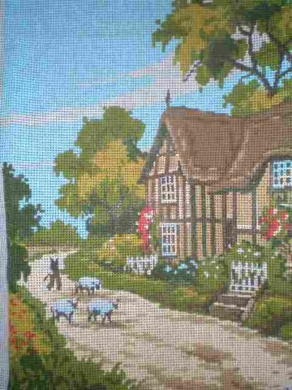 Vintage Twilley's Shepherd's Sheep and Cottage Needlepoint/Tapestry/Cross Stitch Kit