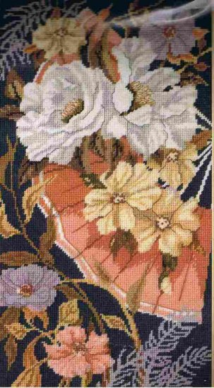 Peonies and Fan by Geri Geremia Oriental Needlepoint/Tapestry Kit