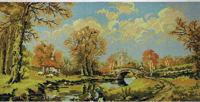 Vintage Penelope The Gold Collection Village Bridge Needlepoint/Tapestry Kit