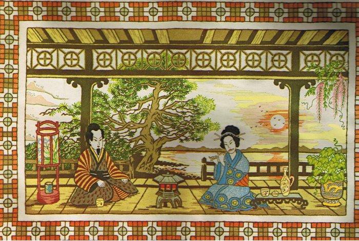 Paragon Oriental Splendor Japanese Geisha in a Tea Garden Crewel / Embroidery Kit