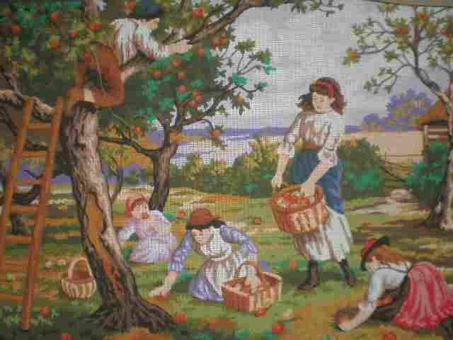 Collection D'Art Apple Pickers and Children Playing by M.B.Foster Tapestry/Needlepoint