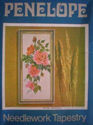 Vintage Penelope Needlework Tapestry Malmaison Rose Bouquet Tapestry Panel