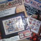 Lot of 6 cross stitch pattern books - Cross Country & Leisure Arts