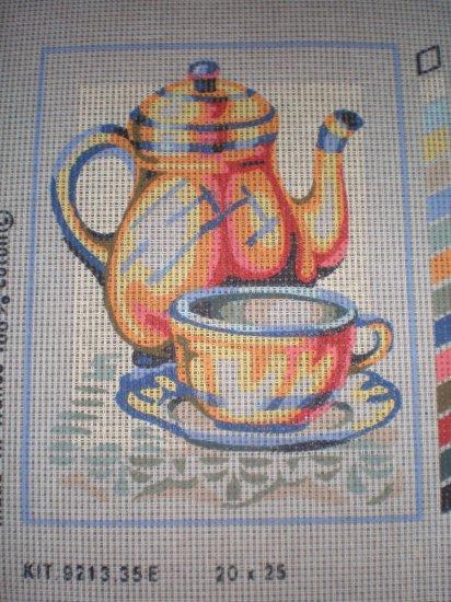"SALE SEG Kitchen ""Tea Cup"" Tapestry Needlepoint Starter Kit - Canvas and Yarn"