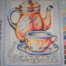 "SALE SEG Kitchen ""Tea Cup"" Tapestry Needlepoint Starter Kit - Canvas and Yarn"
