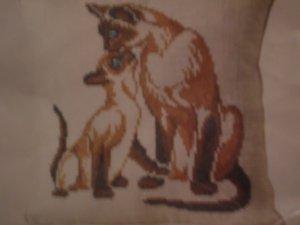 Columbia Minerva Cross Stitch Pillow Kit Siamese Cats