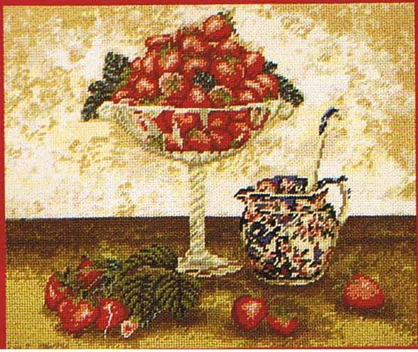 DMC Strawberry and Cream Kitchen Tapestry / Needlepoint Kit